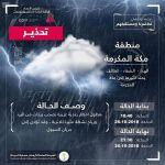الأرصاد ومدني الطائف يصدران تنبيهاً متقدماً لهطول أمطار رعدية على محافظة الطائف
